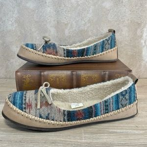 Blue Multi Aztec Print Fabric Soled House Moccasin